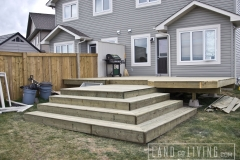 Green pressure treated wood custom stairs