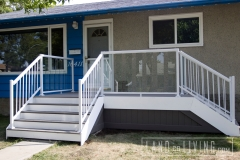 Trex composite front porch aluminum and glass deck railings