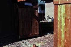 Edmonton Fence brown pressure treated double gate with trelis 2