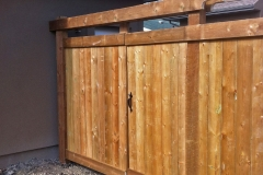 Edmonton Fence brown pressure treated double gate with trelis