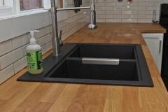 Edmonton Home Renovaton Butcher block countertop black sink 2