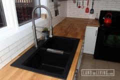 Edmonton Home Renovaton Butcher block countertop black sink